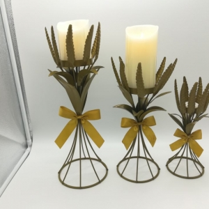 Golden harvest wheat candle holder sets with golden bow tie